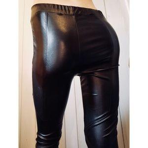 Forever 21 Black Vegan PVC Zippered PUNK Leggings